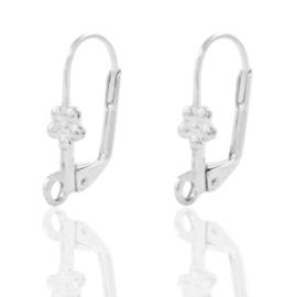 DQ metaal sluitbare oorhangers bloem Antiek zilver (nikkelvrij)