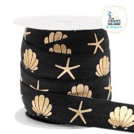 Elastisch lint shell/sea star Black-gold