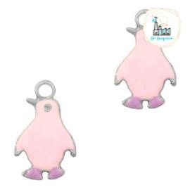 bedels pinguïn Zilver-Pink purple 23 x 14 MM