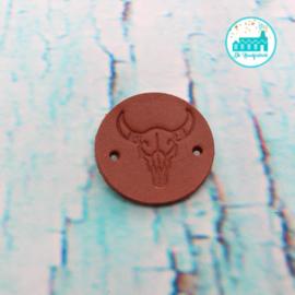 Ronde Leren label 3,5 cm Stier