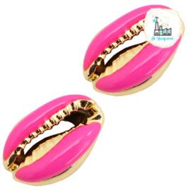Schelp kralen specials Kauri Half hot pink-gold