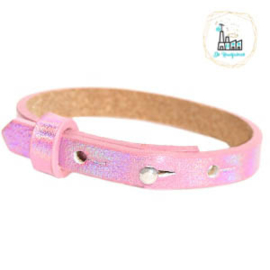 Cuoio armband leer kids 8mm Holographic Pink
