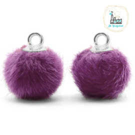Pompom bedels met oog faux fur 12mm Purple-silver