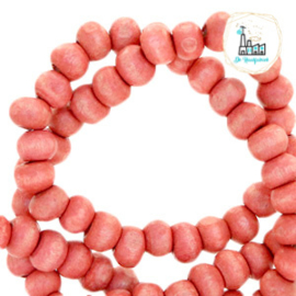 Houten kralen rond 8mm Nature hout-burnt coral pink