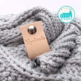 Big Labels with Push-Button Naturel 10 cm x 3 cm 'Handmade' (graceful)