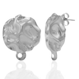 Roestvrij stalen (RVS) Stainless steel oorbellen/oorstekers gehamerd met oogje Zilver