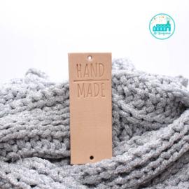 Big Labels  8 cm x 3 cm naturel Handmade met haaknaald GROOT