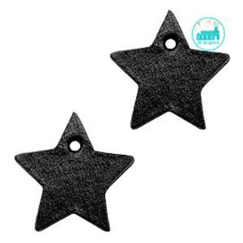 Leren Ster Labels 25 mm Ster Zwart