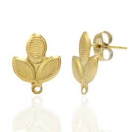 Roestvrij stalen (RVS) Stainless steel oorbellen/oorstekers blad met oogje Goud
