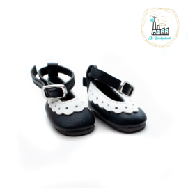 Schoentjes voor Amigurumi Poppetjes Zwart met enkelbandje