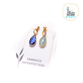 Set Steekmarkeerders Crystal Glas Groen/Blauw