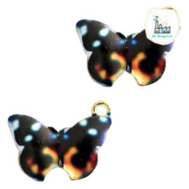 Metalen bedels vlinder Gold black-orange 19x14mm