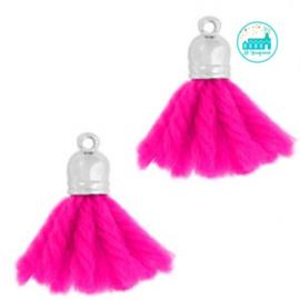 Kwastjes Fluor Pink 2 cm