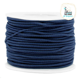 Koord Elastiek 1 meter 2 mm breed DONKERBLAUW
