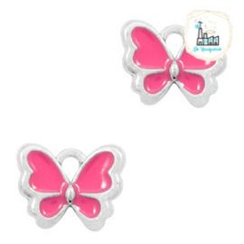 bedels vlinder Zilver-Fuchsia 13 x 10 MM