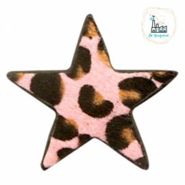 Hairy imi leer hangers ster met leopardprint Pink 52x48mm