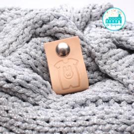 Big Labels with Push-Button Naturel 10 cm x 3 cm 'Baby Suit'