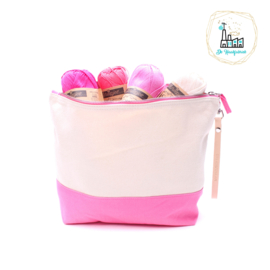 "Project Bag Ecru met Pink met Leren Hengsel ""MY PROJECTBAG"""