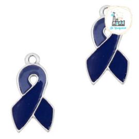 Metalen bedels ribbon Zilver-dark blue 18 x 9 mm