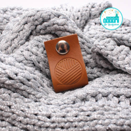 Big Labels with Push-Button Cognac 10 cm x 3 cm 'Sphere Wool'