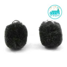 Mini Pompons 15 mm Antraciet /Zwart