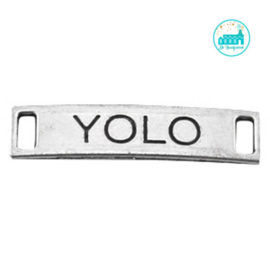 Metalen label YOLO zilverkleurig  28 mm x 6 mm