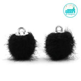 Mini Pompons Faux Fur 12 mm Zwart