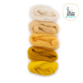 Kleurset Europese Merino Lontwol Wit & Geel tinten nr 1