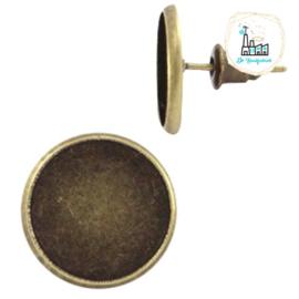 Metalen oorsteker voor stipsteentjes 12mm Brons