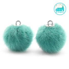 Mini Pompons Faux Fur 16 mm Blauw Zircon