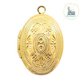 Metalen bedel medaillon ovaal Goudkleurig ca. 24x16mm