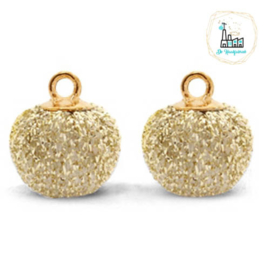 POMPOM BEDELS GLITTER  GOLD 12MM