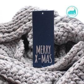 Big Labels  8 cm x 3 cm Donker Blauw Merry X-Mas zilver