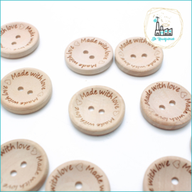 Wooden Button 25 mm 'Made with Love'
