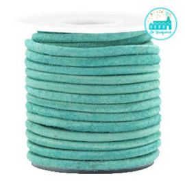 Round Leather String 3 mm Turquoise Green