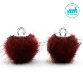 Mini Pompons Faux Fur 12 mm Port Rood
