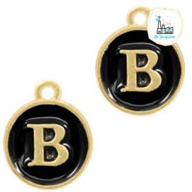 Metalen bedels letter B Goud-zwart ca. 14x12mm
