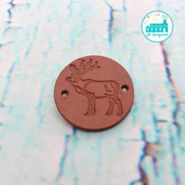 Ronde Leren label 3,5 cm Rendier