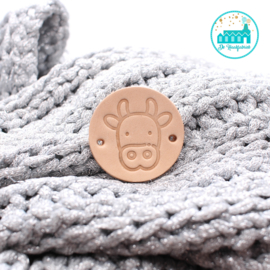 Round leather Label 3,5 cm 'Cow'