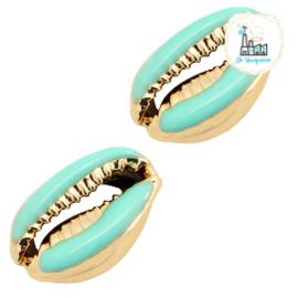 Schelp kralen specials Kauri Half turquoise green-gold