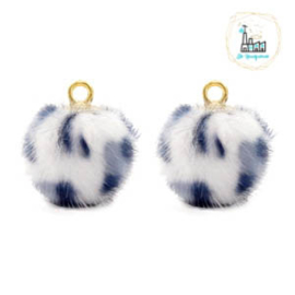 POMPOM BEDELS FAUX FUR LEOPARD WHITE-GREY 12MM