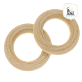 Blanke Houten Ring 30 x 6 mm