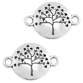 Metalen label rond Tree of life  zilverkleurig 23 mm x15 mm