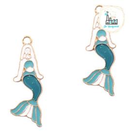 bedels zeemeermin Goud-blauw wit 30 X 11 MM