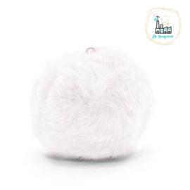 Pompon kunstbont  3,5 cm doorsnede Wit