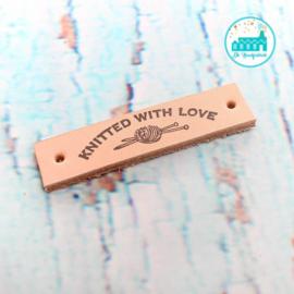 Knitted With Love Leren label 1,5 cm breed Bedrukt