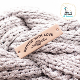 Leren Label 1,5 cm KNITTED WITH LOVE