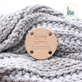 Ronde label met 4 gaatjes 45 MM LIVE LOVE LAUGH4