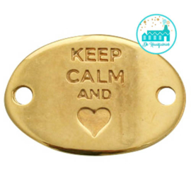 Metalen label Keep Calm hartje and goudkleurig 29mm x 20mm