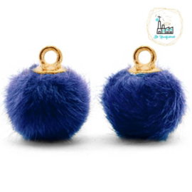 Pompom bedels met oog faux fur 12mm Denim blue-gold